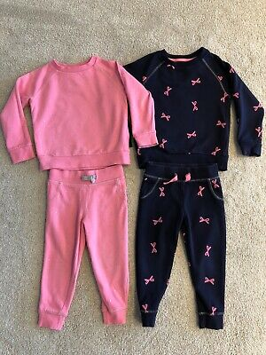 Girls Tracksuits Pink And Navy Aged 2-3 Tops And 18-24 Bottoms