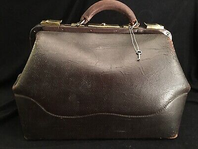 Vintage Doctor Medical Bag, Leather 1910's-1920 W/Key Great Condition!
