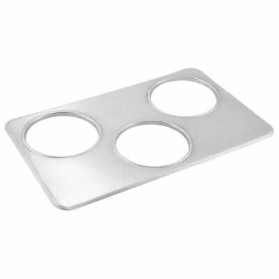 """Winware by Winco ADP-666 Stainless Steel Adapter Plate With Three 6-3//8/"""" Holes"""