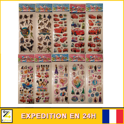 ⭐️ Lot 5 planches de stickers gommettes auto-collants ⭐️CADEAUX ENFANT CARS 3D
