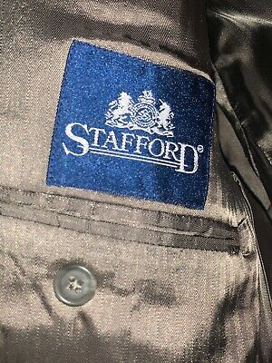 Mens Stafford 100% Wool Tan Suit Jacket Size 42 S |3 Button Sport Coat