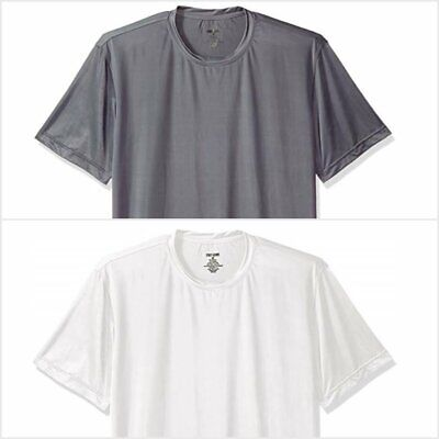 Men's Performance Moisture Wicking Athletic Crew Neck T-Shirt White & Gray NWT