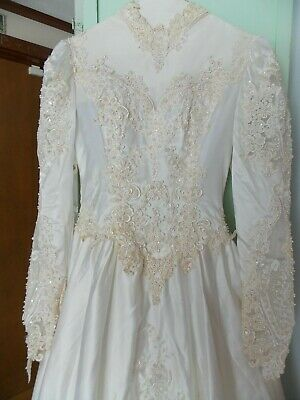 1980's  White Wedding Gown Ornate & Beaded with Long Train Size 6