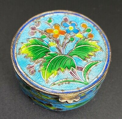 ANTIQUE CHINESE GILT STERLING SILVER ENAMEL Gold Washed TRINKET PILL SNUFF BOX