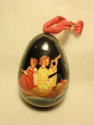 Wooden Russian Lacquer Hand Painted  Egg Shaped Ornament