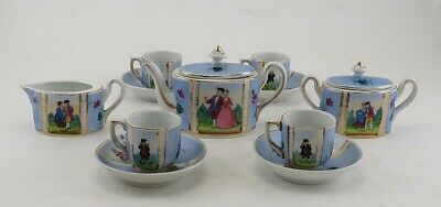 Antique 19th Century German Porcelain China Miniature Tea Set w/ Cups & Saucers