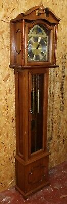 1960's 3 Weight Brass Face Mahogany Grandfather Clock