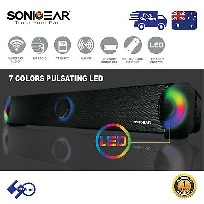PC Wireless Bluetooth Speaker Soundbar with 3.5 AUX Home with Multi-Color BT300