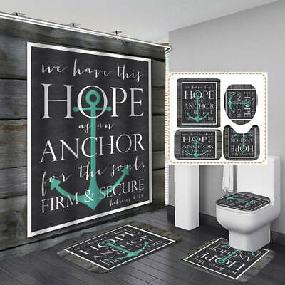 Rustic Anchor Shower Curtain Aqua Brown Nautical Wood Planks Ocean Barn Board