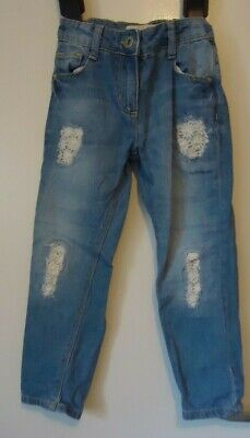 Matalan adjustable waist button/zip front boyfriend blue jeans age: 6 years