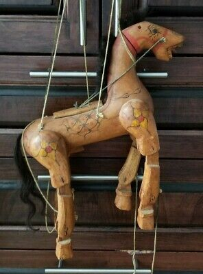 Vintage Folk Art Wooden Horse Marionette Puppet Hand Carved & Hand Painted