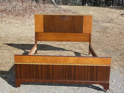 Vintage Art Deco Full Double Bed Vintage Walnut 1930's