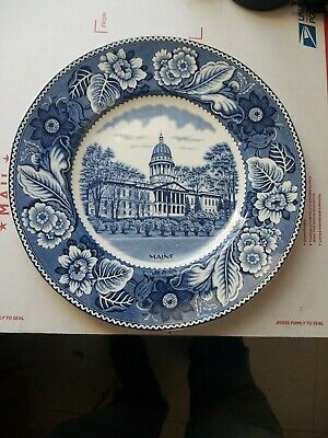 Vintage Mid-Century 1900's Collectible MAINE Blue & White Scenic Plate