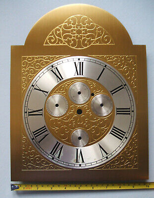 Grandfather Clock Brass Face Dial, Tempus Fugit, 4 Sm Dials, AF Outer Dial Marks