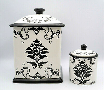 Black White Kitchen Canister Jar Set Of 2 Damask Certified Int Hobby Lobby 19 34 Picclick Uk