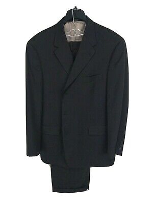 Hart Schaffner Marx Mens 48R (36x26) Wool Black Stripe Pleated Cuffed Suit
