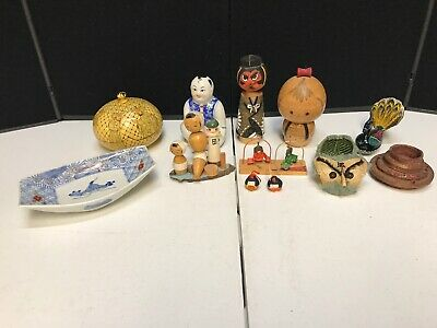 Vintage Japan Asian/Oriental traditional Souvenir Wooden Handcrafted Figures