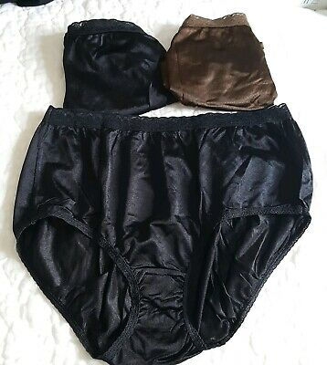 Lot of 3 Size 9 Silky Hanes Panties Hipsters Granny Panty Black Brown