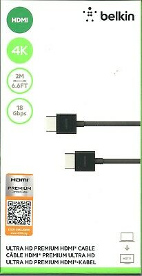 Belkin Ultra HD 4K Premium HDMI CABLE 2M 6.6 Ft, BRAND NEW, SEALED