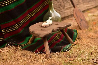 Low Milking Stool Antique Three Legged Primitive Stool Small Farmhouse Stool
