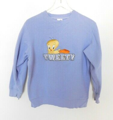 VTG Warner Bros Tweety Bird Womens Sweatshirt Looney Tunes Lavender Purple Sz XS