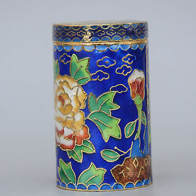 Collectable China Old Cloisonne Hand-Carved Bloomy Peony Flower Toothpick Box