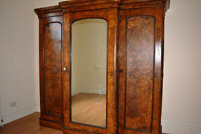 Victorian Compactum Linen Wardrobe Mirror in Walnut
