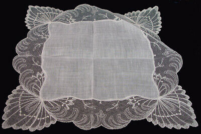 VTG Antique Off White Linen Needle Lace? EXQUISITE  Wedding Hankie PRISTINE