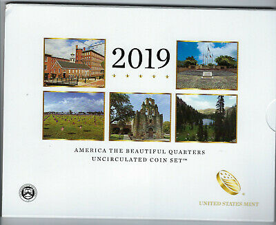 USA: America the Beautiful Quarters Uncirculated Coin Set 2019, Mint D + P