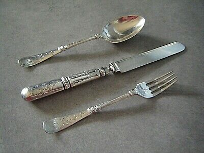ANTIQUE SILVER PLATE CHILD CUTLERY SET KNIFE FORK SPOON early 1900s ? Georgian ?