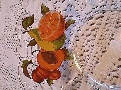 Vintage Retro  Mid Century Glass French Fruit Bowls x 5 Hand Painted Fruit