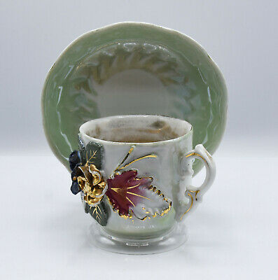 Vintage Porcelain Iridescent Cup & Saucer Raised 3D Flowers Germany Gold Lined