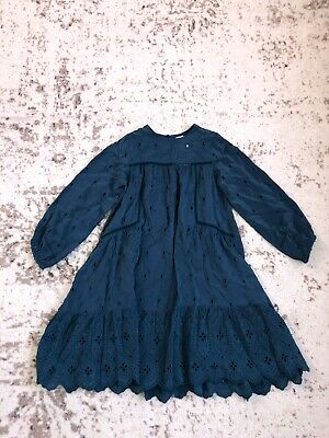 New Zara Girls Dress With Swiss Embroidery Mid Green Torquise Size 7