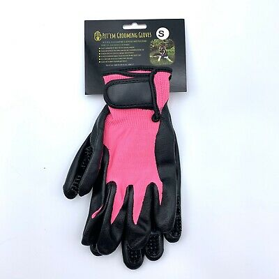 Pet Em Grooming Gloves Hair Fur Remover with Adjustable Wrist Strap for Pets New