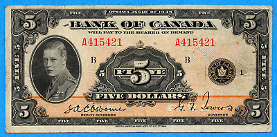 $5 1935 Bank of Canada Note English Text BC-5 - About Very Fine