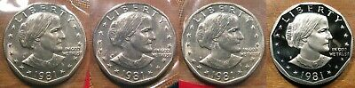 1981 D P S S Susan B Anthony Dollar Set 1-D 1-P 1-S BU Mint Set Coins 1-S Proof