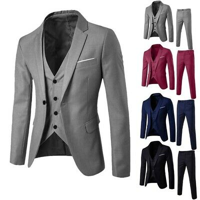 Business Men's Suit Slim 3-Piece Suit Blazer Wedding Party Jacket Vest & Pants