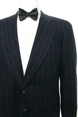 "Paul Stuart Men's 41 Long Tall x 38"" Navy Blue Pinstriped Suit Wool Striped EUC"