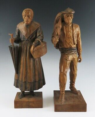 Antique c1920 European Detailed Hand Carved Wooden Man & Woman Couple Statues