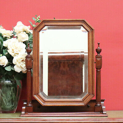 Antique French Walnut Bevelled Mirror Table Top Chest of Drawers Toilet Mirror