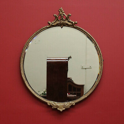 Round Vintage Gilt Mirror With Bevelled Edge and Rope Twist Border Frame