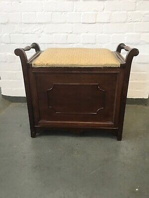 Antique Mahogany Piano Stool With Storage Compartment