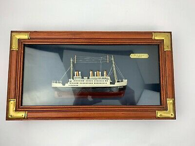 """1912 Titanic Model In Shadow Box Hanging Wood Frame Home Office Decor 16 3/4""""x9"""