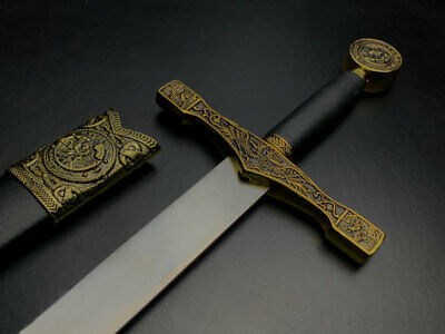 New Gold Medieval Sword King Arthur Excalibur Replica Longsword w/ Scabbard