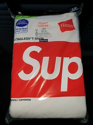 Supreme®/Hanes® Tagless Tees (3 Pack)Brand New White Size Large Limited Edition