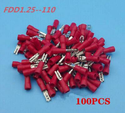 100Pcs Red FDD1.25-110  22-16 AWG Insulated Female Spade Wire Crimp Terminal