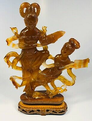 Antique 1920s Chinese Hand-Carved Amber Two Figures on Wood Base With Box