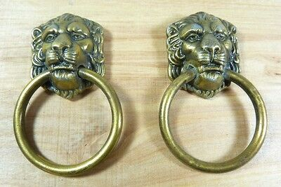 LIONS HEAD Pulls Pair Figural Architectural Hardware Elements Small Hangers