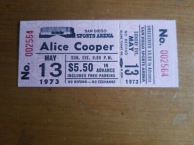 UNUSED Tickets  ALICE COOPER May 13, 1973  San Diego Sports Arena Nice