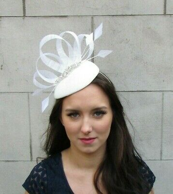 Ivory Off White Pearl Feather Pillbox Hat Fascinator Hatinator Hair Wedding 0061